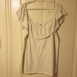 XXL Cream Old Navy over the shoulder  Ruffle Shirt